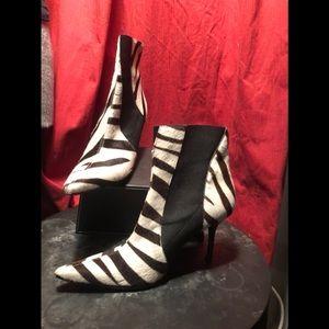 Dolce & Gabbana Zebra Stiletto Ankle Booties Boots